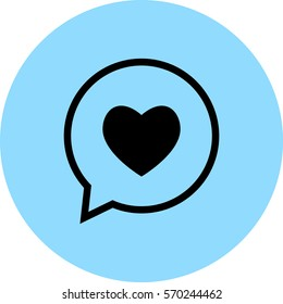 chat with heart vector icon