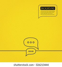 Chat icon. Comment message sign. Dialog speech bubble symbol. Speech bubble of dotted line. Orange background. Vector