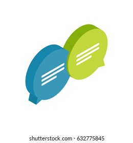 Chat icon, message. ?hatting bubble speeches. Online conversation concept. Isometric style vector illustration.