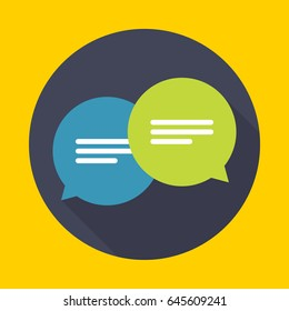 Chat icon, message. ?hatting bubble speeches. Flat design vector illustration.