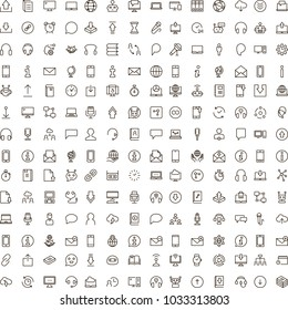 Chat icon set. Collection of high quality outline message pictograms in modern flat style. Black bubble symbol for web design and mobile app on white background. Forum line logo.