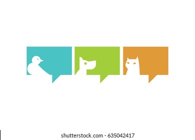 Chat icons. Animals. Bird, dog and cat. Isolated. White background.