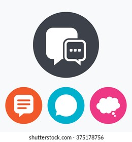 Chat icons. Comic speech bubble signs. Communication think symbol. Circle flat buttons with icon.
