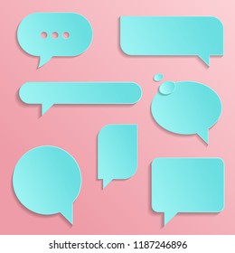 Chat Icons in trendy style isolated on pink background. Cut paper