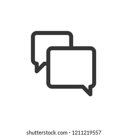Chat icon-speech bubble, chatting, message vector line icon isolated on white background, linear pictogram for graphic design, web and mobile applications