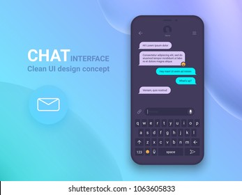 Chat Interface Application with Dialogue window. Clean Mobile UI Design Concept. Sms Messenger. Flat Web Icons. Vector EPS 10