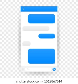 Chat Interface Application with Dialogue window. Clean Mobile UI Design Concept. Sms Messenger. Vector illustration.
