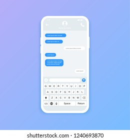 Chat interface. Sms messages. Speech bubbles. Short message service bubbles. Flat interface Vector illustration.