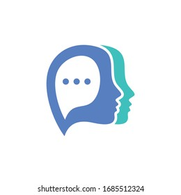 Chat logo concept. Head with bubble chat vector