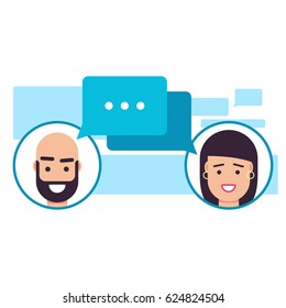 Chat, meeting, thinking, dialogue concept, dialogue box with man and women avatars at social networking service, colorful flat style vector illustration