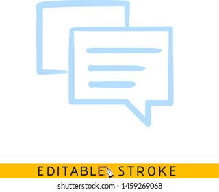 Chat message bubble icon. Blue color line doodle sketch. Editable stroke icon.