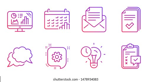 Chat message, Cogwheel and Mail correspondence line icons set. Time management, Handout and Calendar graph signs. Analytics graph, Checklist symbols. Speech bubble, Engineering. Vector