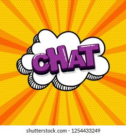 Chat message comic text sound effects pop art style. Vector speech bubble word and short phrase cartoon expression illustration. Comics book colored background template.