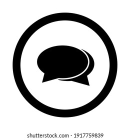 Chat and message or feedback linear icon in black. Dialog and communication outline sign in circle. Isolated on white background. Social media illustration. Technical support symbol. Vector EPS 10
