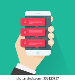 Chat message notifications on mobile phone vector illustration isolated, hand with smartphone and red chatting bubble speeches, concept of person online talking, conversation, dialog