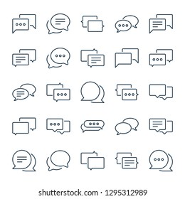 Chat and message related line icons. Speech bubble and dialog box vector linear icon set. Isolated icon collection on white background.