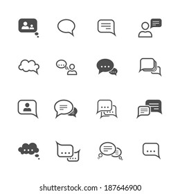 Chat message speech talk text bubble communication icons set isolated vector illustration