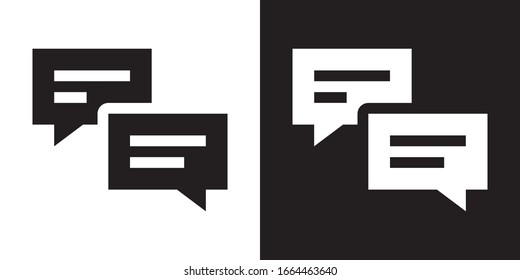Chat Messages. Glyph Icon in White and Black Version.