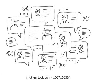Chat messages internet communication. Sketch freehand drawing. Windows with messages. Messenger, correspondence conversation people avatars and text.