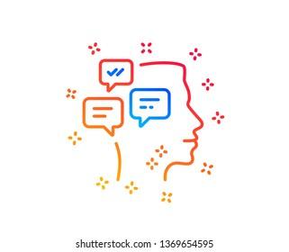 Chat Messages line icon. Conversation sign. Communication speech bubbles symbol. Gradient design elements. Linear messages icon. Random shapes. Vector