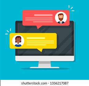 Chat messages notification on Computer screen Vector illustration, flat cartoon sms bubbles on Monitor screen, man person chatting on Laptop with woman isolated