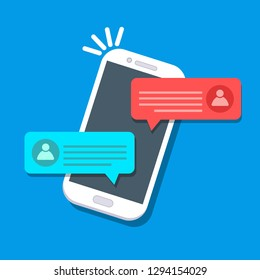 Chat messages notification on mobile phone. Sms bubbles on screen, person chatting on cellphone. Conversation online. Vector cartoon design
