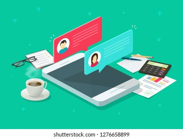 Chat messages notification on smartphone vector research, flat cartoon isometric sms bubbles on mobile phone screen table desktop, chatting on cellphone, 3d isolated workplace or workspace