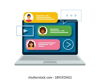 Chat messages on laptop. Online forum and internet chatting concept. Vector isolated illustration.