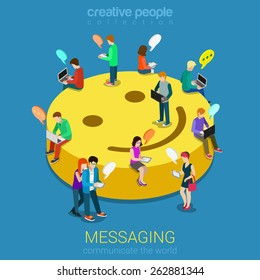Chat messaging communication flat 3d web isometric infographic concept vector. Micro young chatting people with electronic devices sitting on big smile podium. Creative people collection.