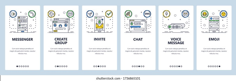 Chat and messaging web site and mobile app onboarding screens. Menu banner vector template for website and application development. Sms messenger app, send message in group chat. Thin line art style.