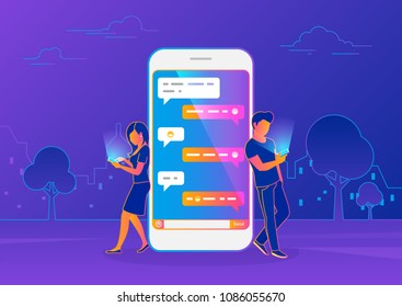 Chat messenger concept of young people using mobile smartphone for sending messages in chat. Modern gradient line vector illustration of guy and woman standing near big smartphone with speech bubbles