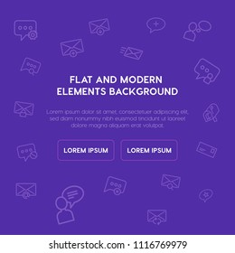 chat and messenger, email outline vector icons and elements background concept on purple background. Multipurpose use on websites, presentations, brochures and more