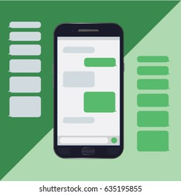 Chat mobile, messages, bubbles, text messages, messenger. Vector