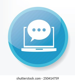 Chat on blue flat button,clean vector
