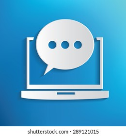 Chat on laptop symbol on blue background,clean vector