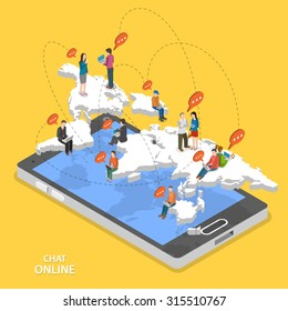 Chat online isometric flat vector concept. Isometric model of earth continents are hovering over the smartphone with chatting people on it.