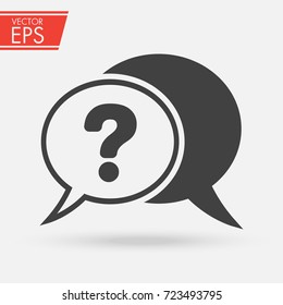 Chat, question icon. Cloud Ask Question symbol. Speech bubble communication vector illustration.