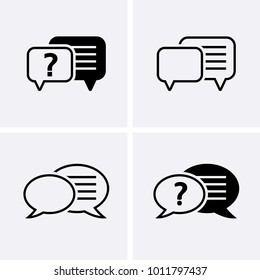 Chat, question icon. Communication talk pictogram. Vector speech buble icons