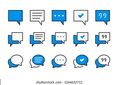 Chat and quote color line icons. Speech bubble and communication vector linear colorful icon set. Isolated icon collection on white background.