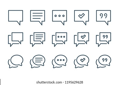 Chat and quote line icons. Vector icon set.