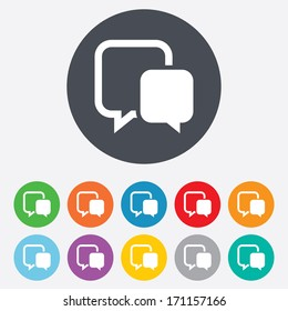 Chat sign icon. Speech bubble symbol. Communication chat bubble. Round colourful 11 buttons. Vector