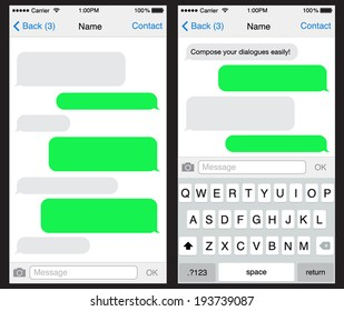Chat / sms application template ,can place your own text in the message boxes