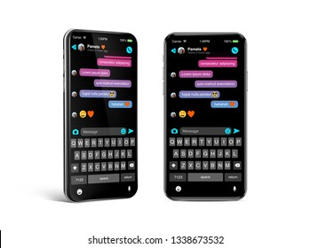 Chat sms internet communicator template on OLED smartphone screen in dark mode. Modern design frame less smartphone - Best vector quality, ultra realistic