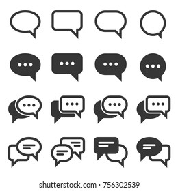 Chat and Speech Bubble Iicons Set on White Background. Vector