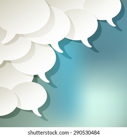 chat speech bubbles ellipse vector white in the corner on a blue bokeh background