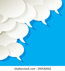 chat speech bubbles ellipse vector white in the corner on a blue background