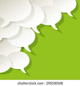 chat speech bubbles ellipse vector white in the corner on a green background