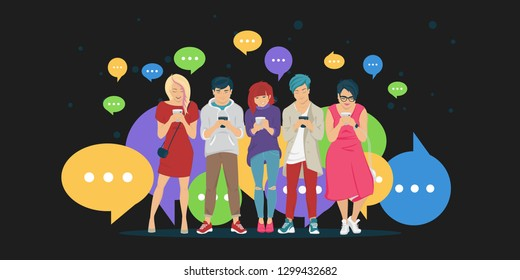 Chat speech bubbles for texting, leaving comment and memes concept flat vector illustration of young teenagers using mobile smartphone for chat texting in message app. People standing with bubbles
