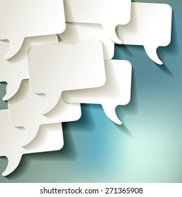 chat speech bubbles vector white on blue bokeh background