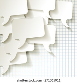 chat speech bubbles vector white on checkered pattern background